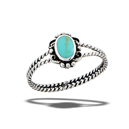 Sterling Silver Bali Style With Synthetic Turquoise Ring Size 7
