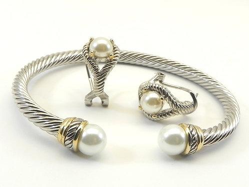 Designer Inspired 2-tone Cuff Bracelet/Earring Set