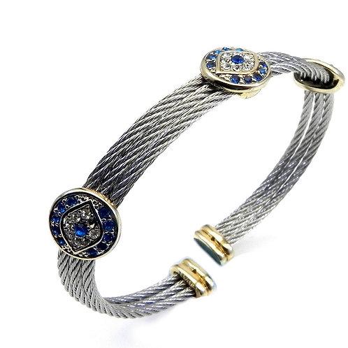 Designer Inspired 2-Tone & Pave Evil Eye Blue & Clear  Stainless Steel Bracelet