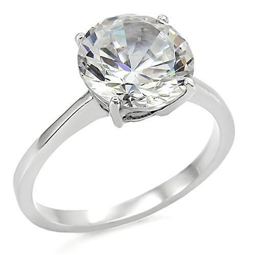 Solitaire 6.78ctw Round Cut CZ Stainless Steel Engagement Ring Women Size 5-10