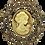 Thumbnail: Vintage Inspired Cameo Gold-Tone Smokey Topaz Austrian Crystals Brooch