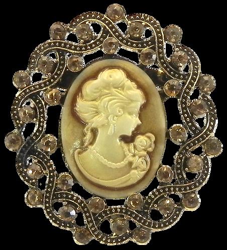 Vintage Inspired Cameo Gold-Tone Smokey Topaz Austrian Crystals Brooch