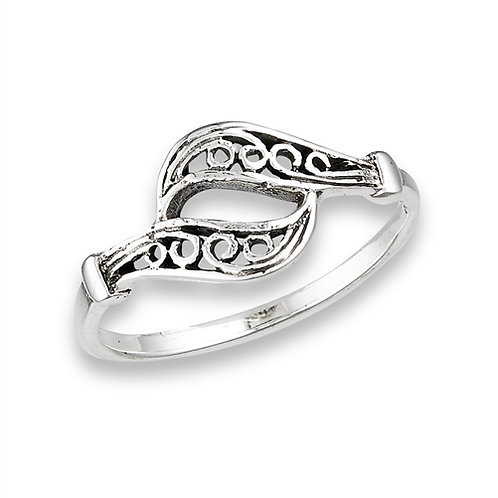 Sterling Silver Very Delicate Dueling Filigree Ring Size 7