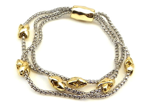 Cable Designer Inspired Multi Strand & Gold X High Polished Sections Bracelet