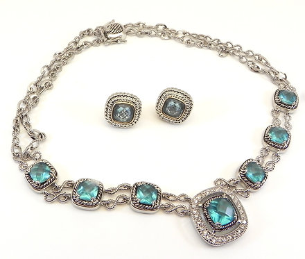 Designer Inspired Silver-Tone Blue Topaz CZ-Crystals & Earring Set