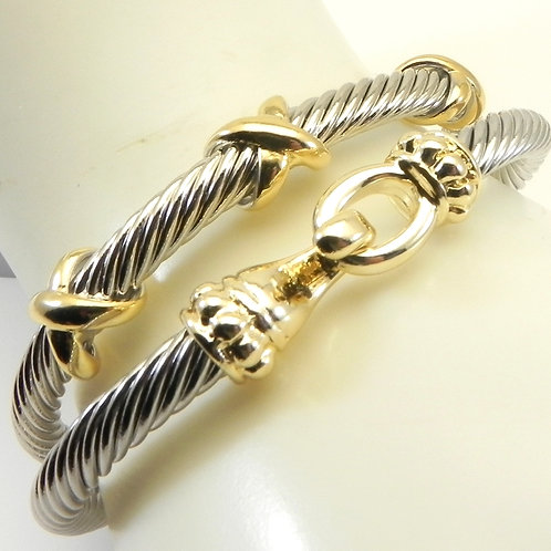 Stacking Duo Cable Designer Inspired 2-Tone Cuff Bracelet Set