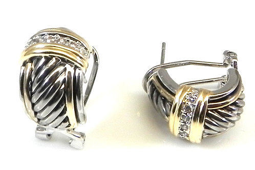 Cable Designer Inspired 2-Tone & Crystal Hoop Earring-Surgical Steel Post