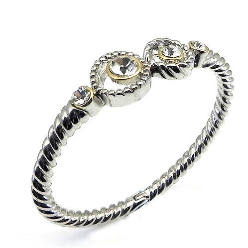 Cable Designer Inspired Round Cut Clear CZ  Rhodium Bracelet