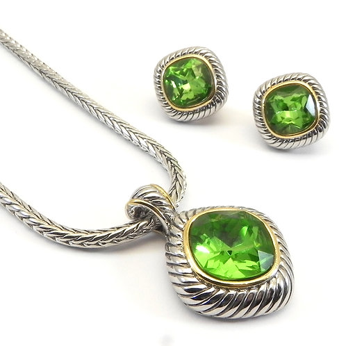 "Cable Designer Inspired 2-Tone Peridot CZ Pendant, earring & Chain 18"" 3 Pc Set"