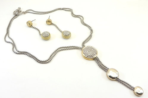 Designer Inspired 2-Tone-Matte & Pave Double Chain Necklace-Dangle Earring Set