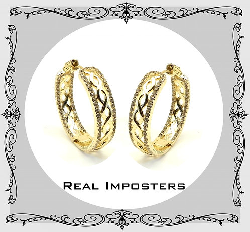 Beautiful Designer Inspired Gold-Tone Pave CZ  Infinity Love 35 MM Hoop Earring