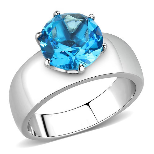 Stainless Steel  Blue Topaz CZ Round Cut 10 MM 3.16 Ct Ring Size 5-10