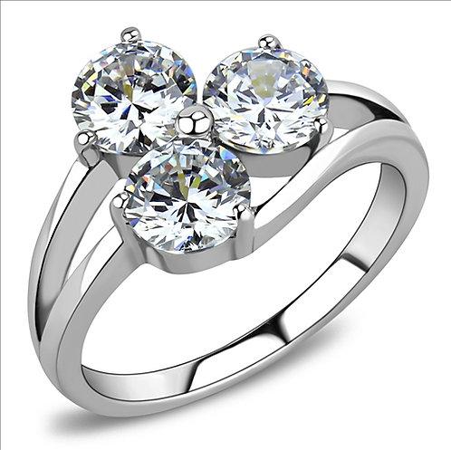 Lovely Three Stone Split Shank Stainless Steel Engagement Ring Sz 5-9