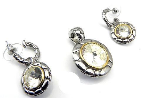 "Bali Designer Inspired Rhodium Slider Clear CZ, Earrings, Chain 17"" 3 Pc"