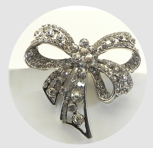 Classic Vintage Inspired Bow With Pave Austrian Crystals Brooch