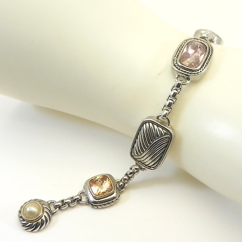 Classic Cable Designer Inspired Silver-Tone and CZ Bracelet