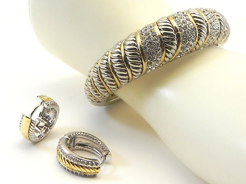 Statement Cable Designer Inspired 2-tone Pave Bracelet and Huggie Earrings Set