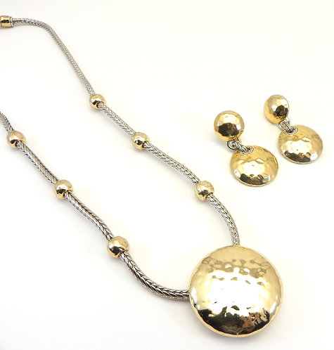 Bali Designer Inspired 2-Tone Hammered Finish Link-Round Necklace/Earring Set