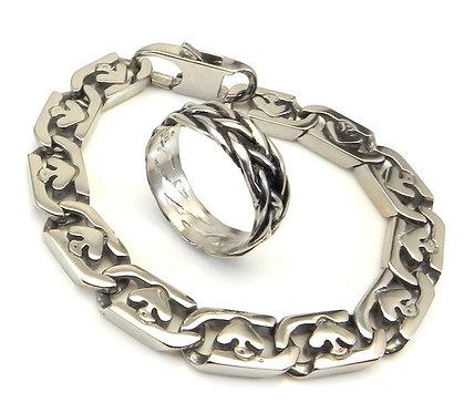 Dashing Stainless Steel Link Bracelet & Ring Set 8-13