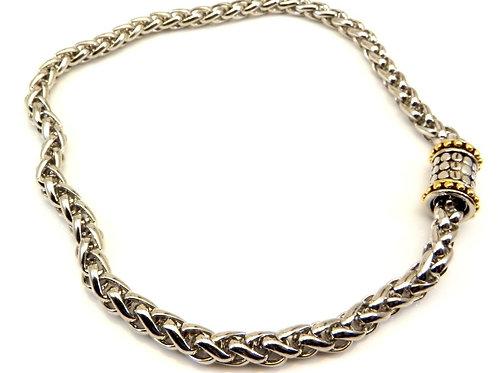 "Bali Designer Inspired 2-Tone Link Chain & Fun Magnetic Clasp 17"""