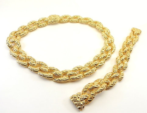 Parisian Designer Inspired Gold-Tone Braided Texture Links Necklace-Bracelet Set