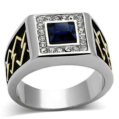 Beautiful Stainless Steel Men's Ring simulated Blue Sapphire & Fine Crystals