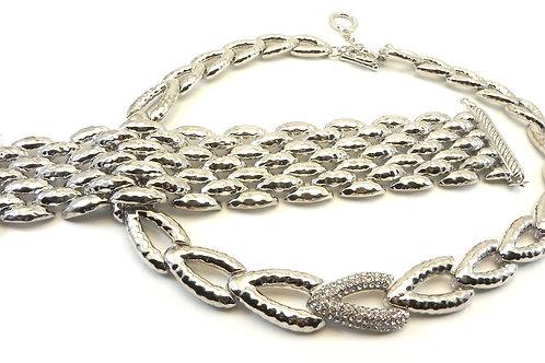 French Designer Inspired  Silver-Tone Hammered Pave  Ctr. Necklace-Bracelet