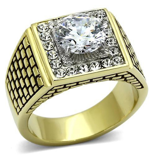 18kt Gold IP Stainless Steel Round Cut - Pave CZ's Fashion Men's Ring Sz 8-13
