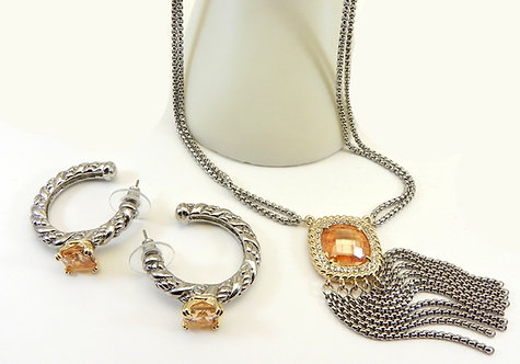 Designer Inspired 2-Tone Square Cut Topaz CZ Necklace & Hoop Earring Set