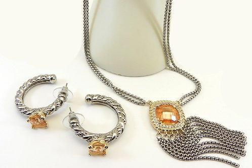 Designer Inspired 2-Tone Square Cut Topaz CZ Necklace & Hoop Earring Set