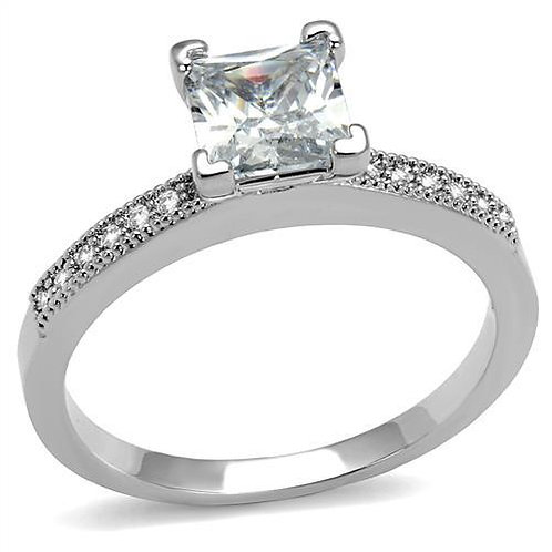 Stainless Steel Engagement- Anniversary Ring Princess Cut CZ & Side accents