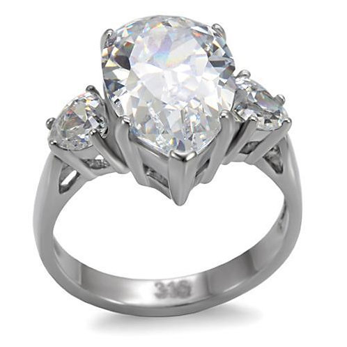 5.41ctw Pear Shape & Heart CZ Sides Stainless Steel Engagement Sz 5-10
