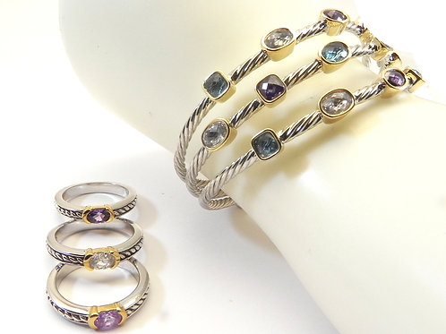 Cable Designer Inspired 2-Tone Confetti Bracelet & Stacking 3 Ring Set