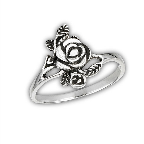 Sterling Silver Very Delicate Rose Ring With Leaves Ring Size 6