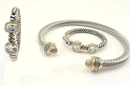 Cable Designer Inspired 2-tone Clear CZ Bracelet & Hoop Earring Set