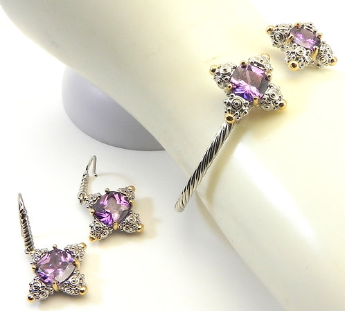 Delicate Designer Inspired 2.3 MM Cable- Simulated Amethyst CZ Cuff Earring Set