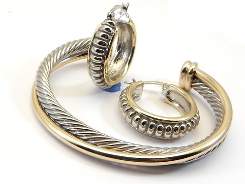 Cable Designer Inspired 2-Tone Twist Cable Bracelet & 2-Tone Hoop Earring