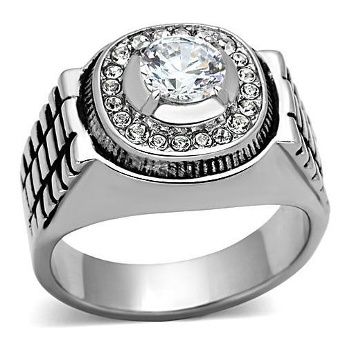 Stainless Steel  Round Cut Pave Set CZ's Fashion Men's Ring Size 8