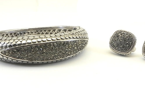 Stunning Designer Inspired Silver-Tone Nail-Head Pave  Earring & Bracelet