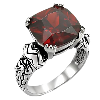 ld 2-Tone Bali Inspired Square Red Garnet CZ Stainless Steel Size 5-10