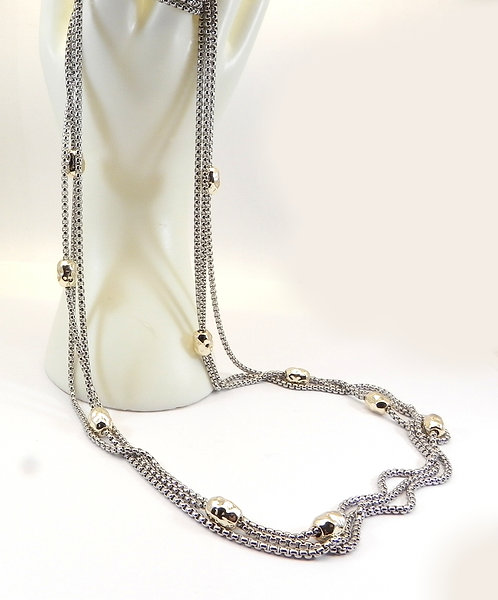 "Bali Designer Inspired 2-Tone 36"" Triple Chain-Gold Hammered Necklace"