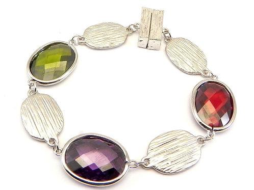 Designer Inspired Silver Tone Oval Cut Multi-Color CZ Magnetic Bracelet