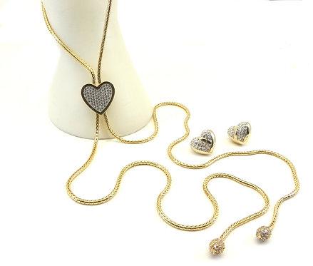 "Lariat 38"" Designer Inspired  Pave Heart Gold-Tone Pave Tips-Earring Set"