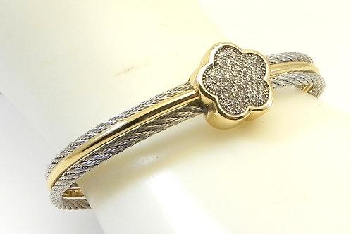 Classic Designer Inspired  2-Tone Cuff 5.9 MM Cable Bracelet