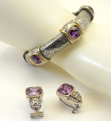 Chunky International Designer Inspired 2-tone Amethyst CZ Bracelet/Earring Set