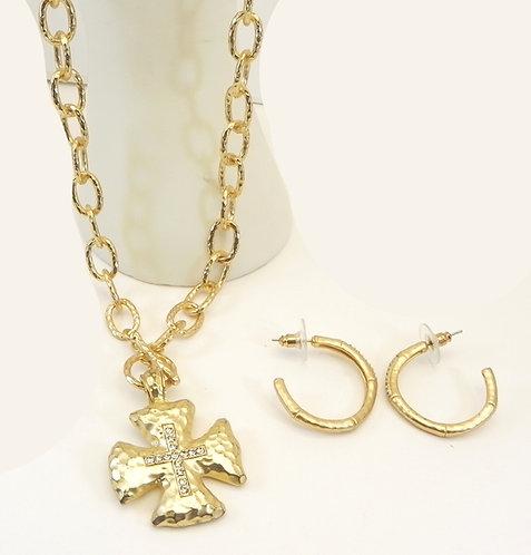 Gold Tone Designer Maltese Cross Crystal Necklace & Earring set
