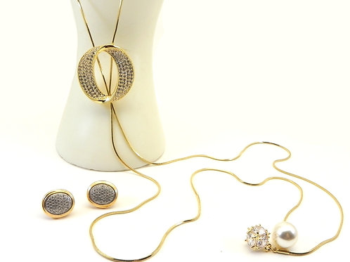 """Contemporary Designer Inspired Gold-Tone 38"""" Lariat Pave Crystal Necklace-Earrin"""
