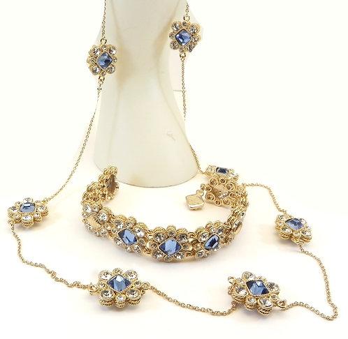 Designer Inspired Gold-Tone Princess Cut Blue 7 Clear Crystals & Bracelet Set