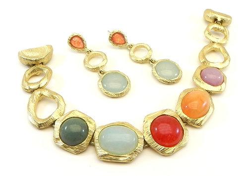 Amazing French Designer Inspired  Gold-Tone Faux Semi-Precious Bracelet Earring