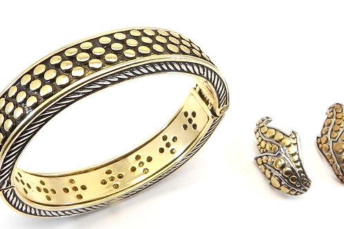Bali Designer Inspired 2-Tone Hinge Dot Bracelet & Earring Set
